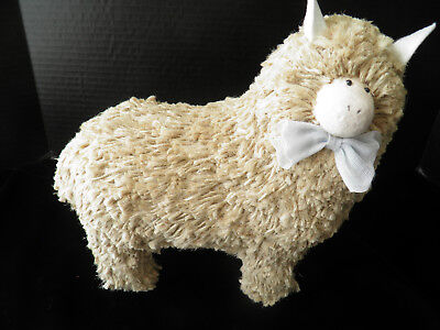 Decorative Sheep With Blue Bow And Felt Ears - Made With Course Yarn / String