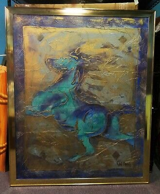 Original Blue, Purple and Gold Horse Painting by Artist Van Stafford