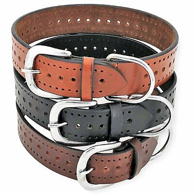 "Genuine Real LEATHER Dog Collar 1.5"" Width for Medium and Large Pet sz M, L, XL"