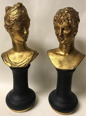 Pair Of Vintage Gilt Porcelain/bisque Italy Marked Woman Lady Busts