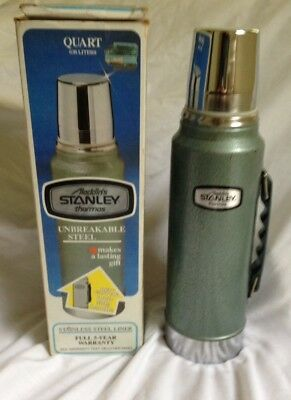 Aladdin's Stanley Thermos Quart Vintage 1980 With Box Unbreakable Steel Vtg