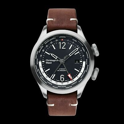 New Christopher Ward C8 UTC WorldTimer (GMT) Automatic Watch World Time 44MM Brn