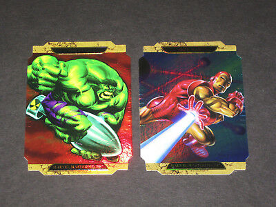 IRON MAN & HULK ~ © 2008 Marvel Super Heroes Die-Cut Foil Promos ~ Set of 2