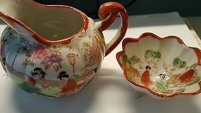 Japanese Chinese Bowl Small Footed Bowl & Pitcher...vintage Hand Painted