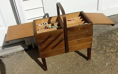Vintage AS Strommen Bruk Hamar Accordion Style Wooden Sewing Box Wood Fold Out