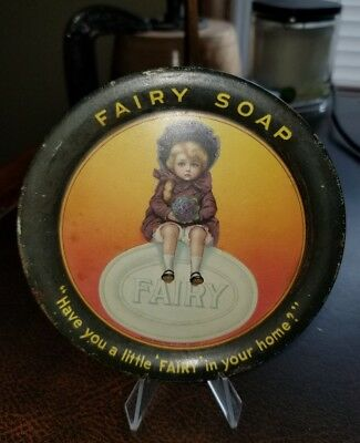 Original Antique FAIRY Soap Tin Litho Advertising Tip Tray Fairbanks Chicago