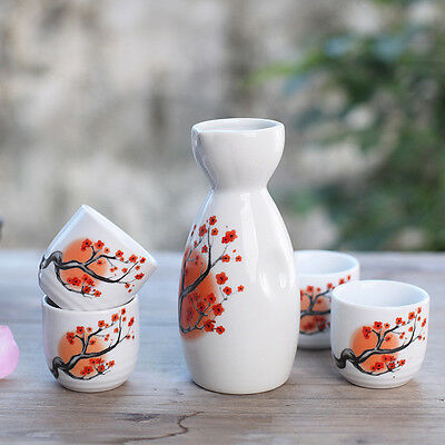5 Pcs Japanese Sake Set Bottle Plum Flower Porcelain Hand Painted Ceramic Crafts