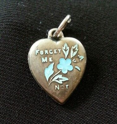Vintage Sterling Silver and Enamel Forget Me Not Puffy Heart Charm