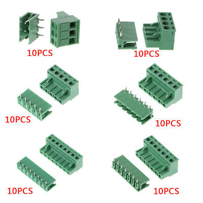 10Pairs 5.08mm 300V Pluggable Terminal Block Pitch 3-8 Pin Right Angle 10A