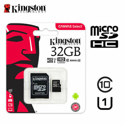 Genuine Kingston 32 GB Micro SD SDHC Memory Card Class 4 with SD Card Adapter
