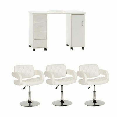 Large White Nail Bar Manicure Table Furniture Set With 3 Cushioned Chairs Inc...