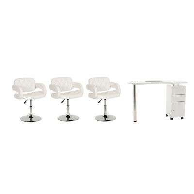 White Nail Bar Manicure Table Furniture Set With 3 Cushioned Chairs Included
