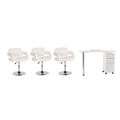 Wido WHITE NAIL BAR MANICURE TABLE FURNITURE SET WITH 3 CUSHIONED CHAIRS INC