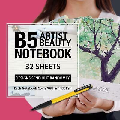 2X B5 Artist Beauty Stationery Diary Gift Girls lined ruled notebook+ 1Pen Gift