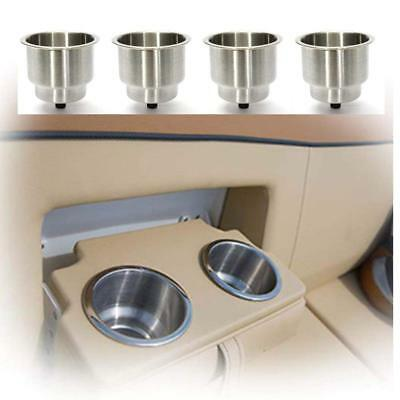 4X Stainless Steel Cup Drink Holder Bottom Insert Camper/Truck RV Brushed