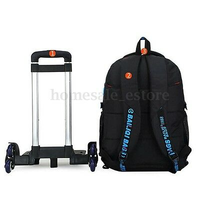 Kids Child Trolley Backpack School Luggage Hand Bag With 6 Wheels Removable