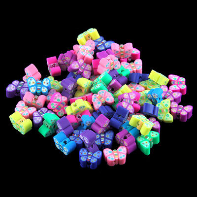 100pcs Multicolor 3D Cartoon Butterfly Polymer Clay Loose Beads 8*5MM Wholesale