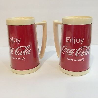 Vtg Eagle Coca Cola Insulated Plastic Cup Set Of 2 Made In USA