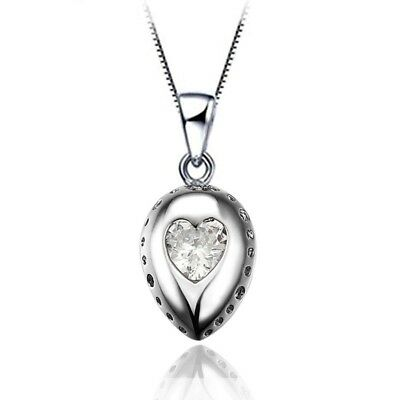 Lady 18K White Gold GP Crystal Carved Heart Pendant Necklace Silver Necklace