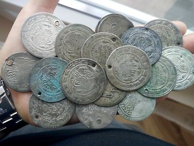 Very large old silver Turkish coins 16 pieces