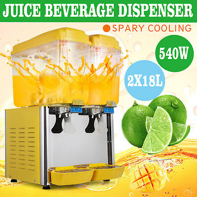 9.5 Gallon Cold Juice Beverage Dispenser Ice Tea Refrigerated Commerical 2 x 18L