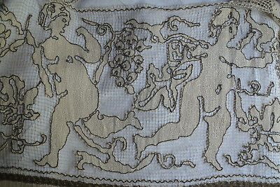 Antique French figural filet lace, bronze metallic thread and trim