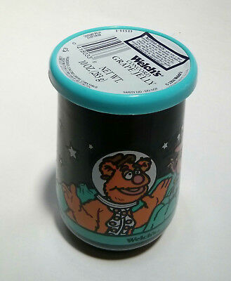 """Welch's 1998 Muppets In Space #3 Fozzie Bear - Glass 4"""" Jelly Jar *new Unopened*"""