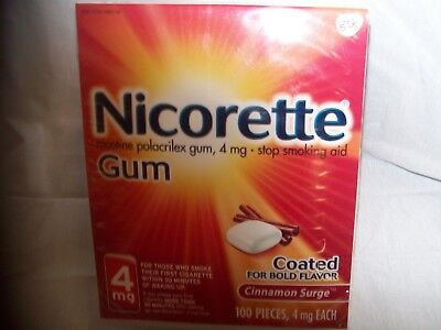 Nicorette Gum 4mg Cinnamon Surge, 100 pieces Exp.9/18 up to 12/18 -Free Shipping