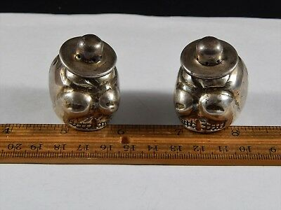 Pair Vintage Mexican Sterling Silver Salt Pepper Shaker Set Sombrero Skull Form