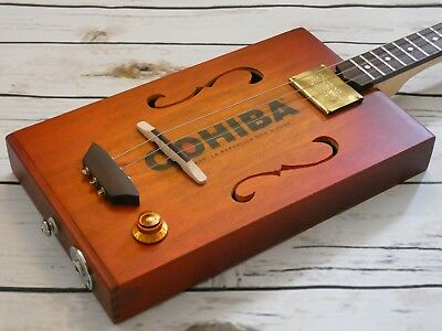 ShonKy ShonKybox3, Stunning 3 String fretted cigar Box Guitar, Flatpup. fretted.