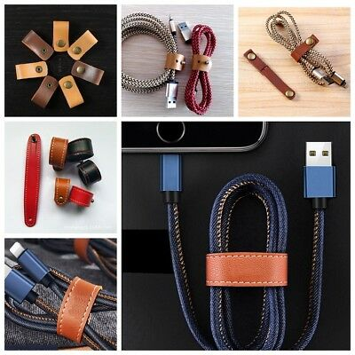 5pcs PU Leather Buckle Cable Straps Ties Wraps Cord Organizer Holder Winder Wire
