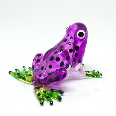 Frog Figurine Lampwork Collectible Miniature Hand Blown Art Glass Purple