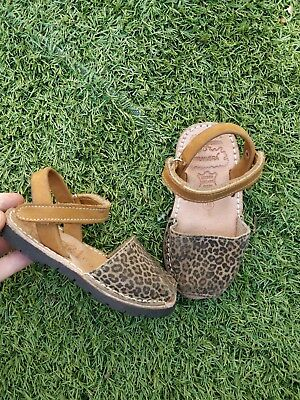 Girls Leopard Print Leather Spanish Sandals shoes  Mallorca Zara size 7 24
