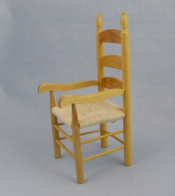 1/12th scale Dolls House Miniature Ladder Back Cane Rush Effect Seat Chair