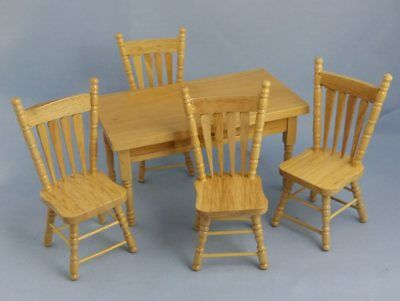 1/12th scale Dolls House Pine Country Kitchen Table & 4 Chairs Furniture set
