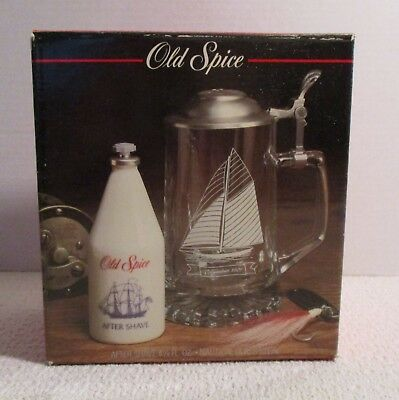 Vintage Old Spice Nautical Glass Stein &  After Shave