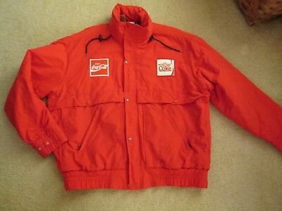 Vtg Unitog Usa Coca Cola  Coke Drivers Jacket Sewn Patches Size M Quilted Lined