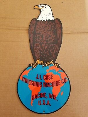 J.I. Case Theshing Machine Co Thick Metal Sign Made USA Farm Tractor Racine WI