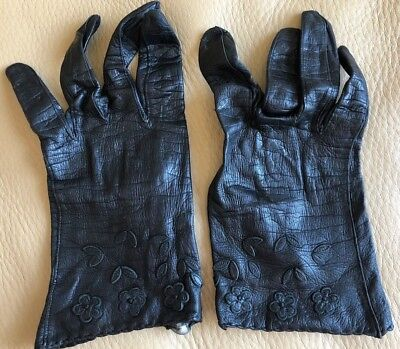 Sexy Vintage Aris Ladies Driving Black Kid Leather Gloves -Sz 7 Made In Germany