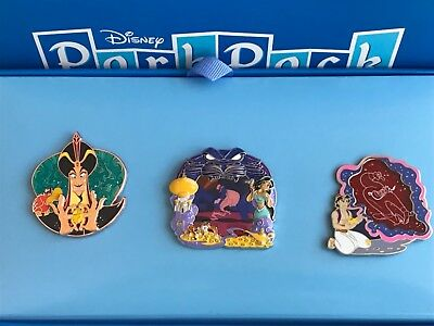 Disney Park Pack Pin Set July 2018 Aladdin Jafar Jasmine Genie new with box
