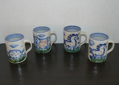 M A Hadley mug set of 4 country animals horse cow pig cups vintage pottery M. A.