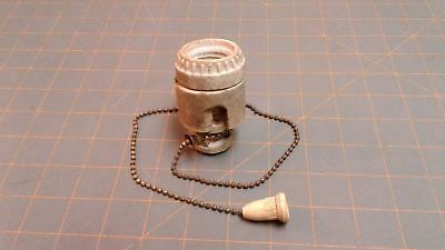 Electric Light Pull Chain Bulb Socket and Porcelain Housing Circa 1910 Antique