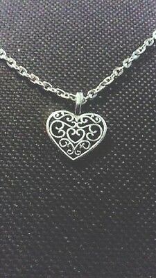 BRIDESMAID Silver Plated Filigree Heart Necklace with poem Thank You Gift