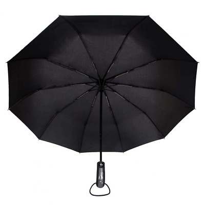 "Telescopic 42"" Umbrellas Travel Purse Folding Rain Black NEW"