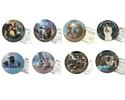 Set of 8 Limited Ed Star Wars Fine China 24k Gold Plates by Hamilton Collection