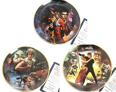 Set of 3 Star Wars Trilogy Porcelain Plate Collection by The Hamilton Collection