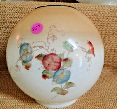 """J257* antique 8"""" GWTW  OIL LAMP  BALL SPHERE ROUND GLOBE HAND PAINTED 3 .75 FIT."""