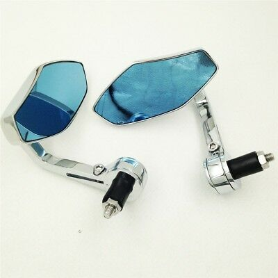 "Polygon Shape Mirrors with light blue glasses universal fit for any 7/8"" or 1"""
