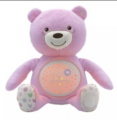 Chicco First Dreams Baby Bear Pink Musical Night Light Plush Teddy Toy baby