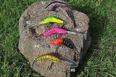 3 x XL Deep Diving Hard Body Lures & VMC Hooks COD YELLOWBELLY, MUZZA'S LURES